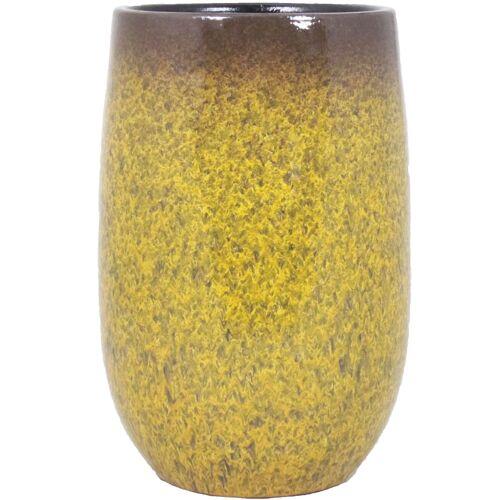 Floran Bloempot vaas goud geel flakes keramiek voor bloemen/planten H30 x D19 cm -