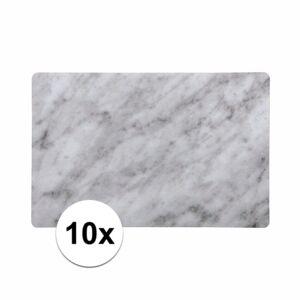 Merkloos 10x Placemat marmer grijs kunststof 43 x 28 cm -