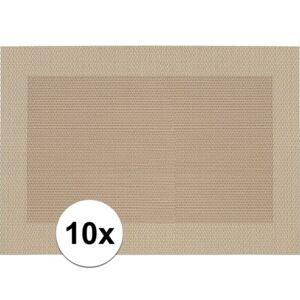 Merkloos 10x Placemats beige/bruin geweven/gevlochten met rand 45 x 30 cm -