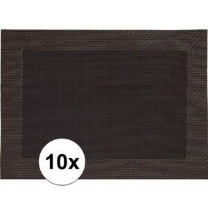 Merkloos 10x Placemats donkerbruin geweven/gevlochten met rand 45 x 30 cm -