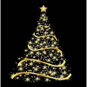 Ambiente 120x Zwarte kerst thema servetten met gouden kerstboom 33 x 33 cm -