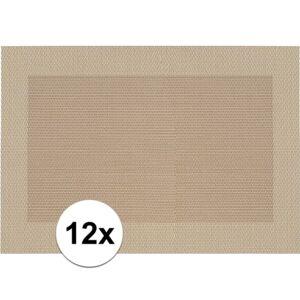 Merkloos 12x Placemats beige/bruin geweven/gevlochten met rand 45 x 30 cm -