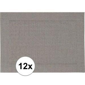 Merkloos 12x Placemats grijs geweven/gevlochten met rand 45 x 30 cm -