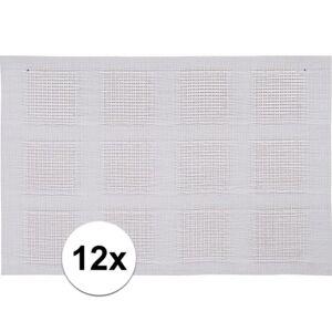 Merkloos 12x Placemats wit geweven/gevlochten 45 x 30 cm -