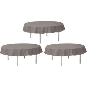 Santex 3x Grijze ronde tafelkleden/tafellakens 240 cm stof -