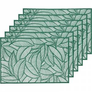 Decoris 6x Groene bladeren placemats 30 x 45 cm rechthoek -