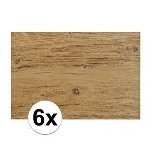 Merkloos 6x Placemats in donkerbruin woodlook print 45 x 30 cm -