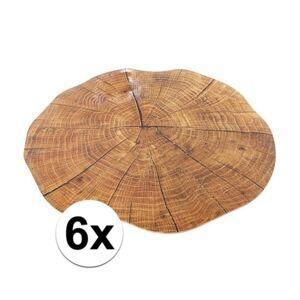 Merkloos 6x ronde placemat boomstam print 38 cm -