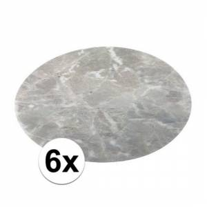 Merkloos 6x ronde placemat marmer grijs 38 cm -