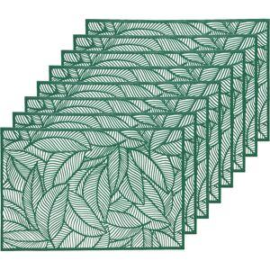 Decoris 8x Groene bladeren placemats 30 x 45 cm rechthoek -