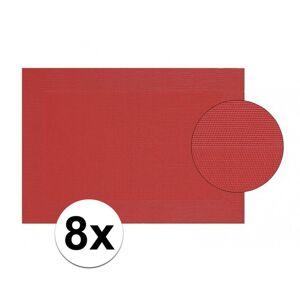 Merkloos 8x Placemat gevlochten rood 45 x 30 cm -