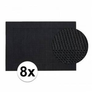 Merkloos 8x Placemat gevlochten zwart 45 x 30 cm -