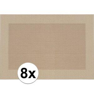 Merkloos 8x Placemats beige/bruin geweven/gevlochten met rand 45 x 30 cm -