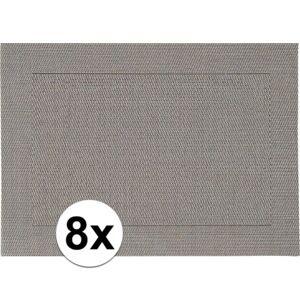 Merkloos 8x Placemats grijs geweven/gevlochten met rand 45 x 30 cm -