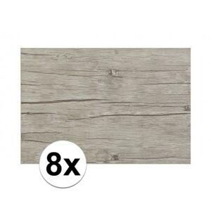 Merkloos 8x Placemats in lichtgrijs woodlook print 45 x 30 cm -