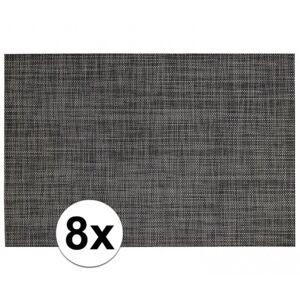 Merkloos 8x Placemats met geweven print antraciet 45 x 30 cm -