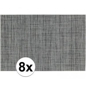 Merkloos 8x Placemats met geweven print grijs 45 x 30 cm -