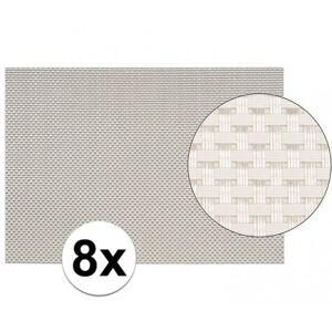 Merkloos 8x Placemats met geweven print wit 45 x 30 cm -