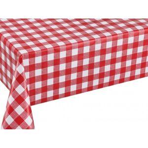 Merkloos Buiten tafelkleed/tafelzeil boeren ruit rood/wit 140 x 250 cm -