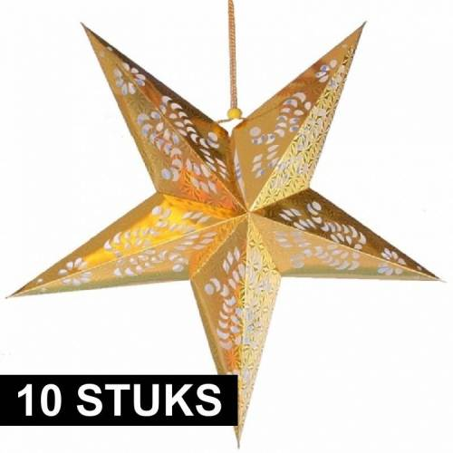 Bellatio Decorations 10x Decoratie sterren goud 60 cm -