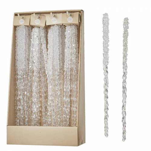 Bellatio Decorations 2x Kerstornamenten transparante ijspegels 41 cm -