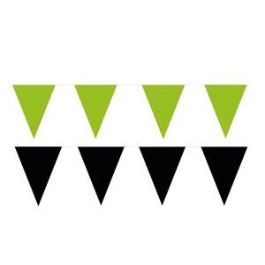 Shoppartners 200 meter zwart/groene buitenvlaggetjes - Feestslingers