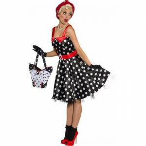 Merkloos Zwarte jaren 50 jurk met witte stippen 42 (XL) -
