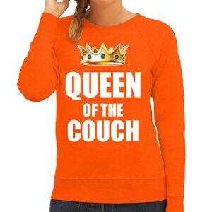 Bellatio Decorations Woningsdag Queen of the couch sweater / trui voor thuisblijvers tijdens Koningsdag oranje dames XL - Feesttruien