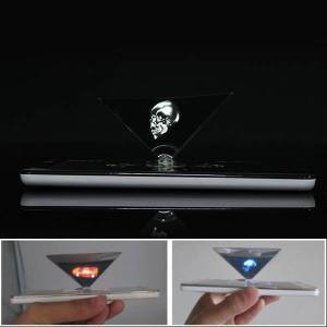 3D Holographic Projector Auxiliary Tool Pyramid DIY Creative Gifts For 3.5 to 6.0 Inches Smartphone