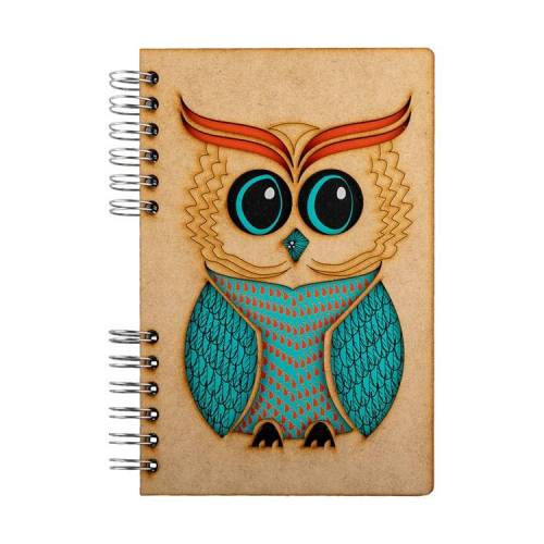 Notebook MDF 3d kaft A6 blanco - Wijze uil-