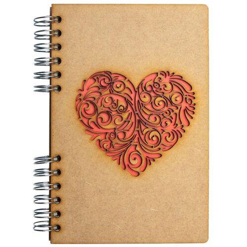 Notebook MDF 3d kaft A5 blanco - Rood hart-