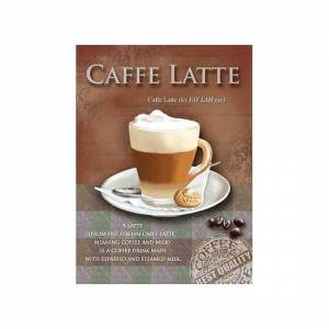 Merkloos Metalen wand bordje Caffe Latte 15 x 20 cm