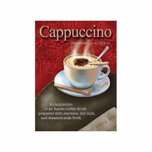 Merkloos Metalen wand bordje Cappuccino