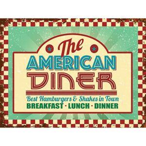 Merkloos Retro metalen plaatje American Diner