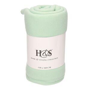 Merkloos 1x Mint groene warme fleece dekens 130 x 160 cm