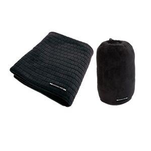 Merkloos Fleecedeken zwart met blokjespatroon 125x150cm