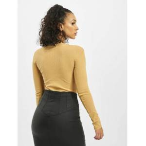 Missguided / Body Button Front Rib Long Sleeve in beige  - Dames - Beige - Grootte: 38