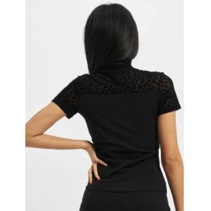 Urban Classics / t-shirt Ladies Flock Lace Turtleneck Tee in zwart  - Dames - Zwart - Grootte: Medium