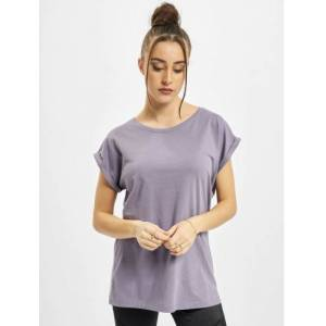 Urban Classics / t-shirt Ladies Extended Shoulder in paars  - Dames - Paars - Grootte: Large