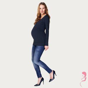 Noppies Zwangerschapsshirt Positieshirt Amsterdam Ronde Hals Lange Mouw Donker Blauw