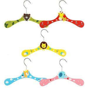 Zeller 10x Gekleurde houten kledinghangers met cartoon dieren voor baby/kinderkleding