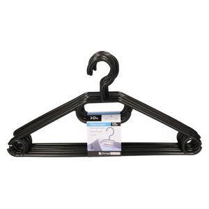 Merkloos 10x Plastic kledinghangers zwart