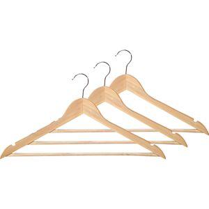 Merkloos 16x Houten kledinghangers 44 cm met broekstang