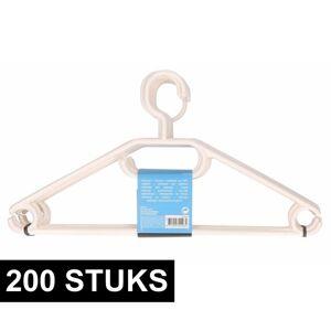 Merkloos 200x Plastic kledinghangers wit