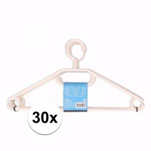 Merkloos 30x plastic kledinghangers wit