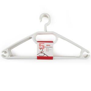 Merkloos 5x Plastic kledinghangers wit