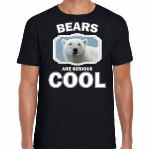 Bellatio Decorations Dieren witte ijsbeer t-shirt zwart heren - bears are cool shirt