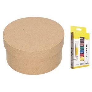 Geen Hobbypakket ronde opbergdoos maken met acrylverf