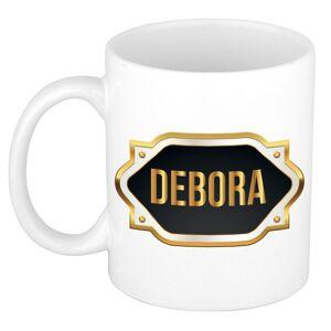 Bellatio Decorations Naam cadeau mok / beker Debora met gouden embleem 300 ml