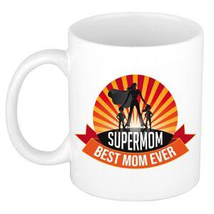 Bellatio Decorations Supermom, best mom ever moederdag cadeau mok / beker wit